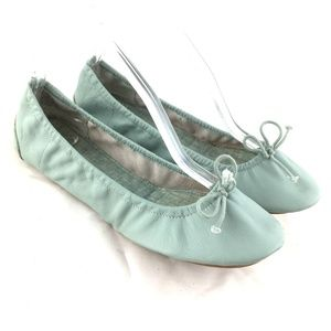 Foldable ballet flats mint green leather bow shoes